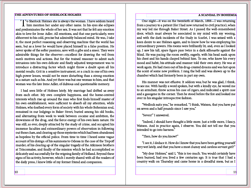 Pages of text in InDesign with 15 point leading