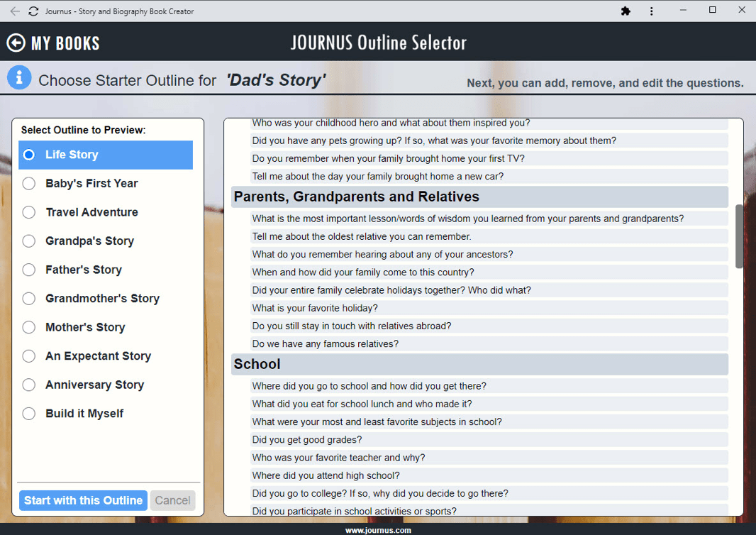Outline Selector to create the question list for your parents