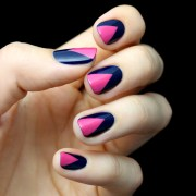 mani monday hot pink and navy