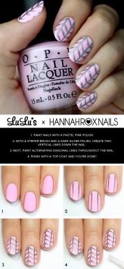 mani monday pastel pink and herringbone