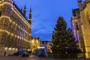 Magnificent City Hall, Belgium during Christmas