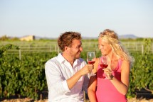 Red wine drinking couple toasting at vineyard. People drinking r