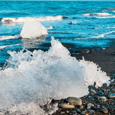 Black Sand Beach Near Jokulsarlon, Iceland