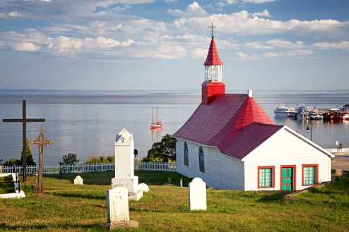 Chapel of Tadoussac, St Lawrence river. Quebec, Canada