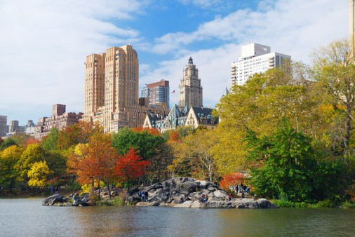 New York City Central Park in Autumn with Manhattan skyscrapers