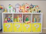 Custom Super Mario themed IKEA Kallax shelf