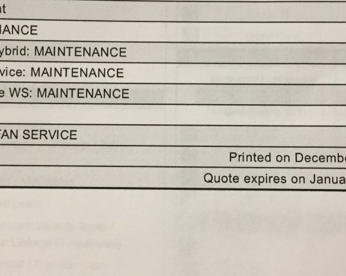 Toyota's recommended 120,000 miles maintenance