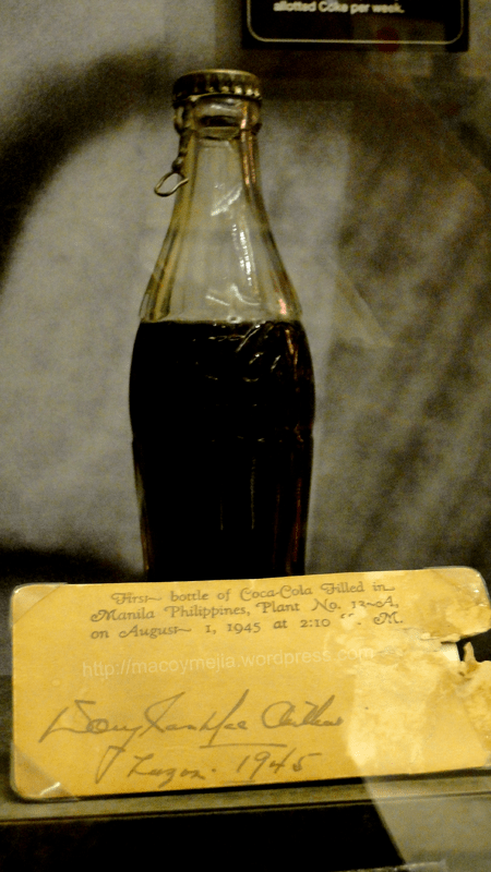 The first bottle of Coca-Cola filled in Manila Philippines on August 1, 1945 at 2:10 PM