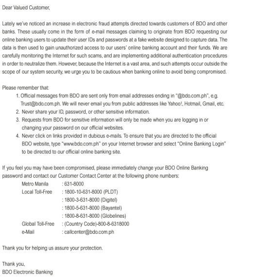 BDO Online Banking Security Advisory 12.26.2012