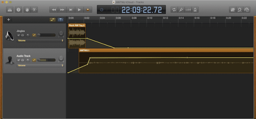 GarageBand being used for podcast recording and editing