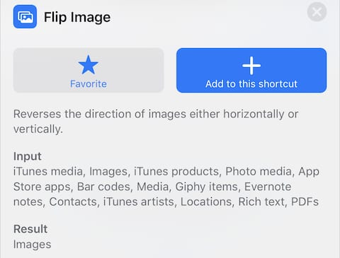 """(The """"flip image"""" action in iOS 12)"""