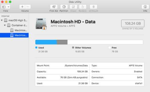 Read-only boot volume for macOS Catalina.