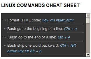 Broken Linux Commands Cheatsheet Widget
