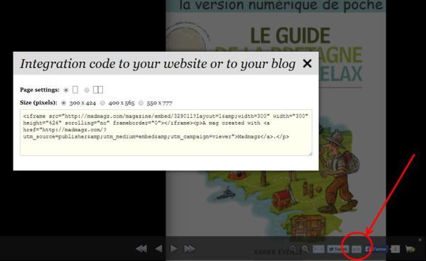 Intégration du code de votre guide sur votre site ou blog Madmagz