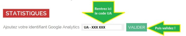 Rentrez votre code UA Google Analytics