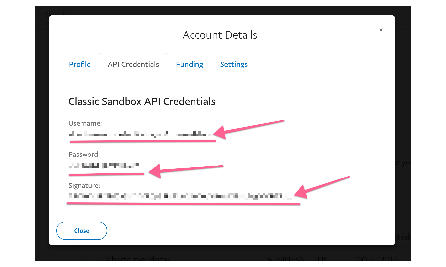 paypal api credentials for vtex payment