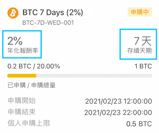 BTC yield