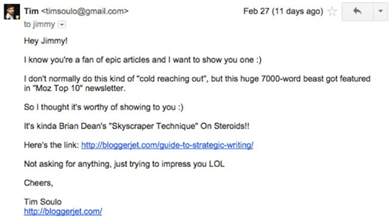 Screenshot of a social proof outreach email