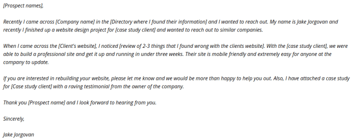 include a testimonial without interrupting the flow of your email