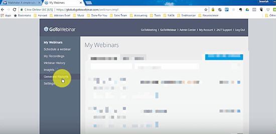 Go to Webinar reports screenshot