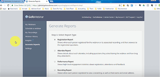 Go to Webinar report screenshot