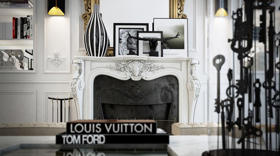 Une cheminée à la décoration moderne et très chic, toute en sobriété avec ce contraste du noir et du blanc. Retrouvez plus de photos de cet intérieur élégant dans l'article.