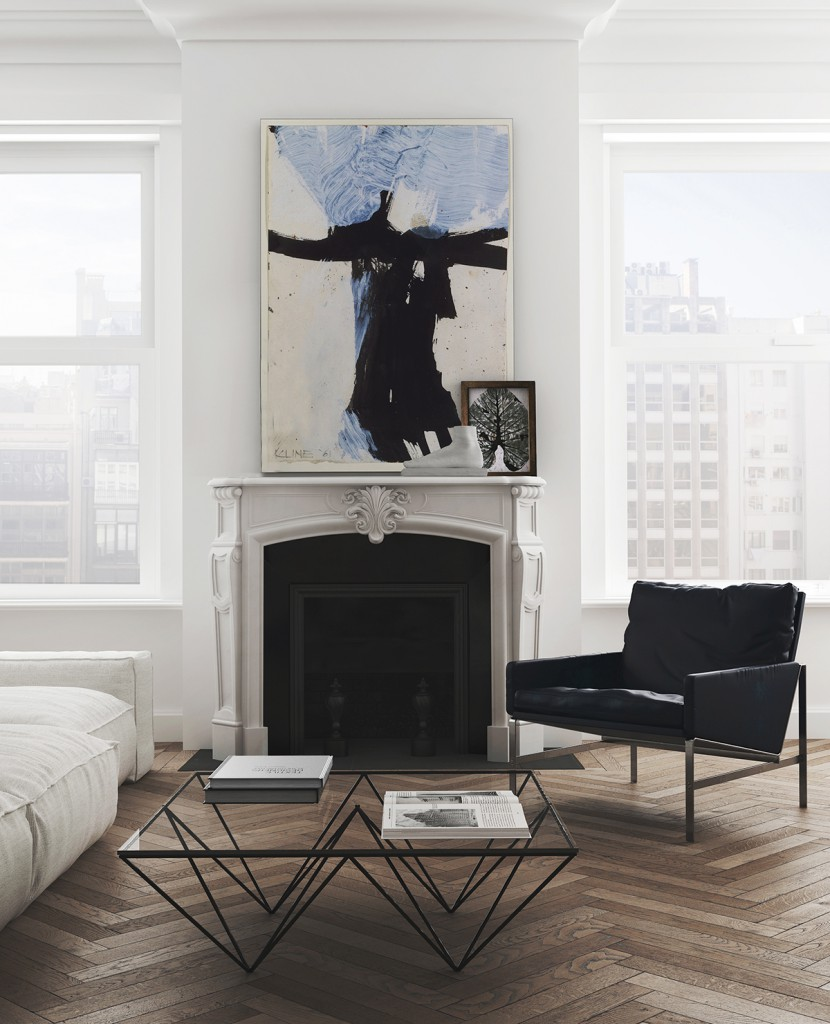 Un salon à la déco moderne avec une cheminee ancienne