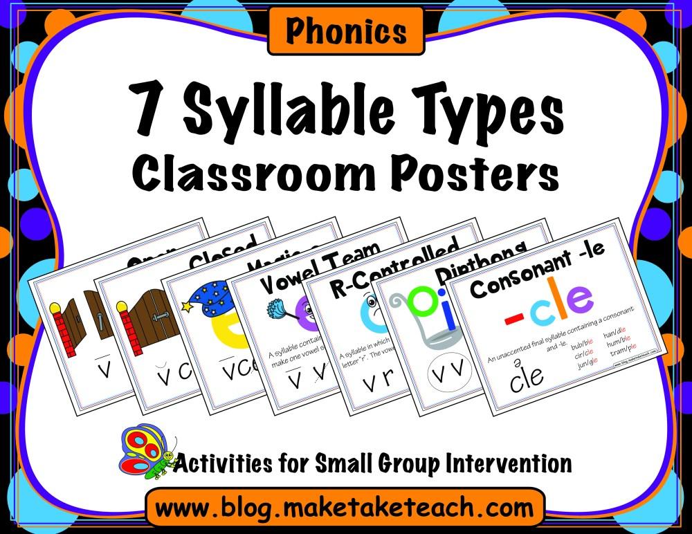 medium resolution of 7 Syllable Types Classroom Posters - Make Take \u0026 Teach