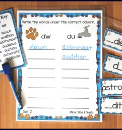 Aw Au Al Worksheet   Printable Worksheets and Activities for Teachers [ 1657 x 2239 Pixel ]
