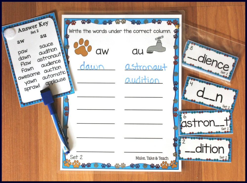 medium resolution of Aw Au Al Worksheet   Printable Worksheets and Activities for Teachers