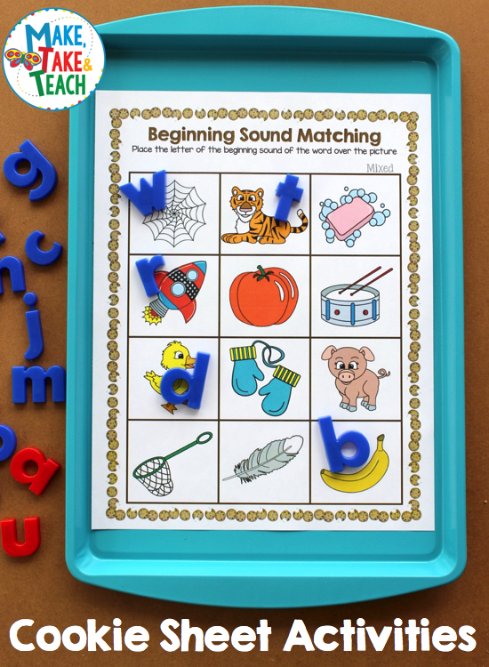 Cookie Sheet Activities For Beginning Sounds Make Take