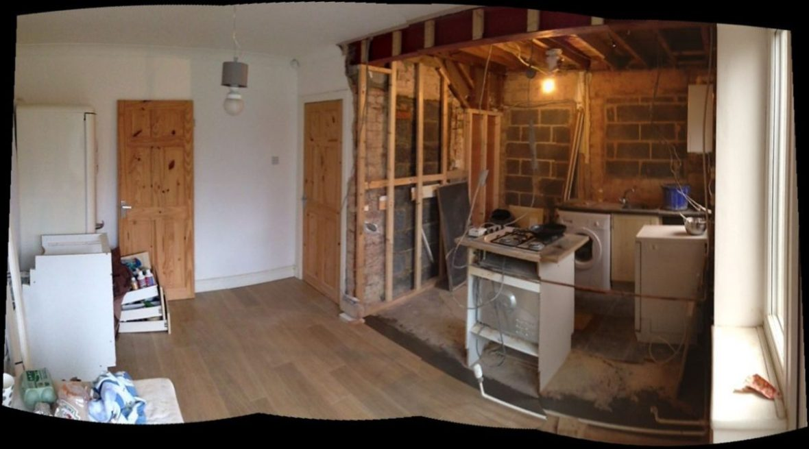 Open plan kitchen building work