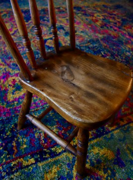 100 year old solid oak spindle back child's chair