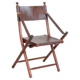 Oceans Apart Franca Teak and Leather Tarlton Chair