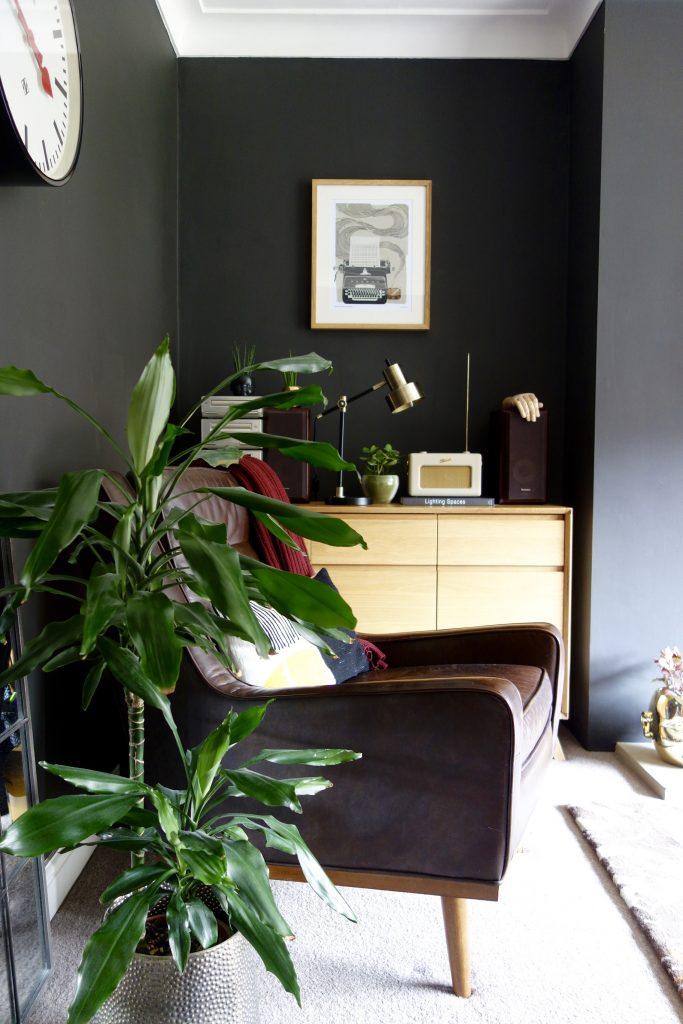 Mid Century Black Living Room