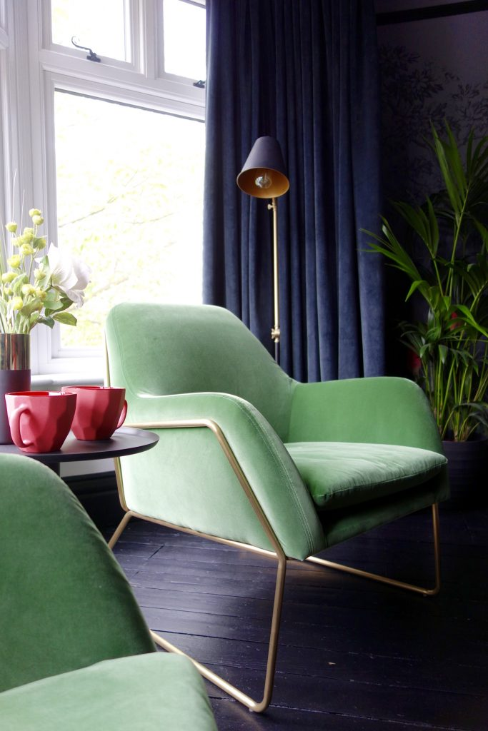 Grass green velvet brass armchair