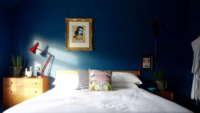 Angelique Houtkamp Dark Blue Bedroom