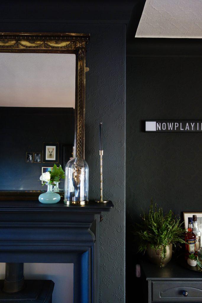 Living Room Black Fireplace