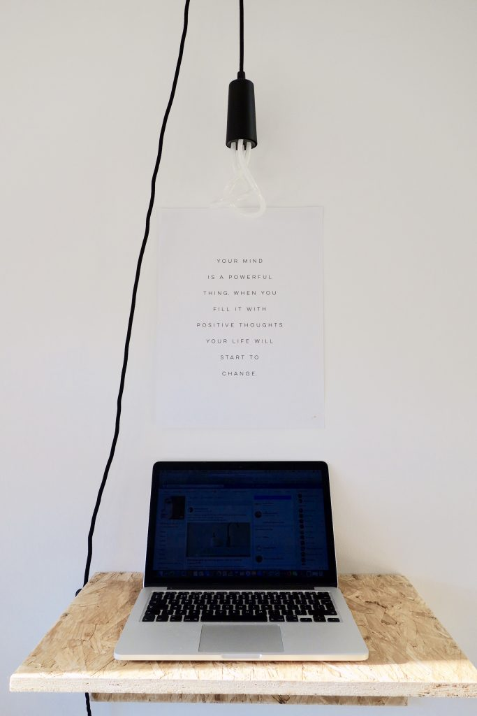 OSB Standing Desk & Plumen Light