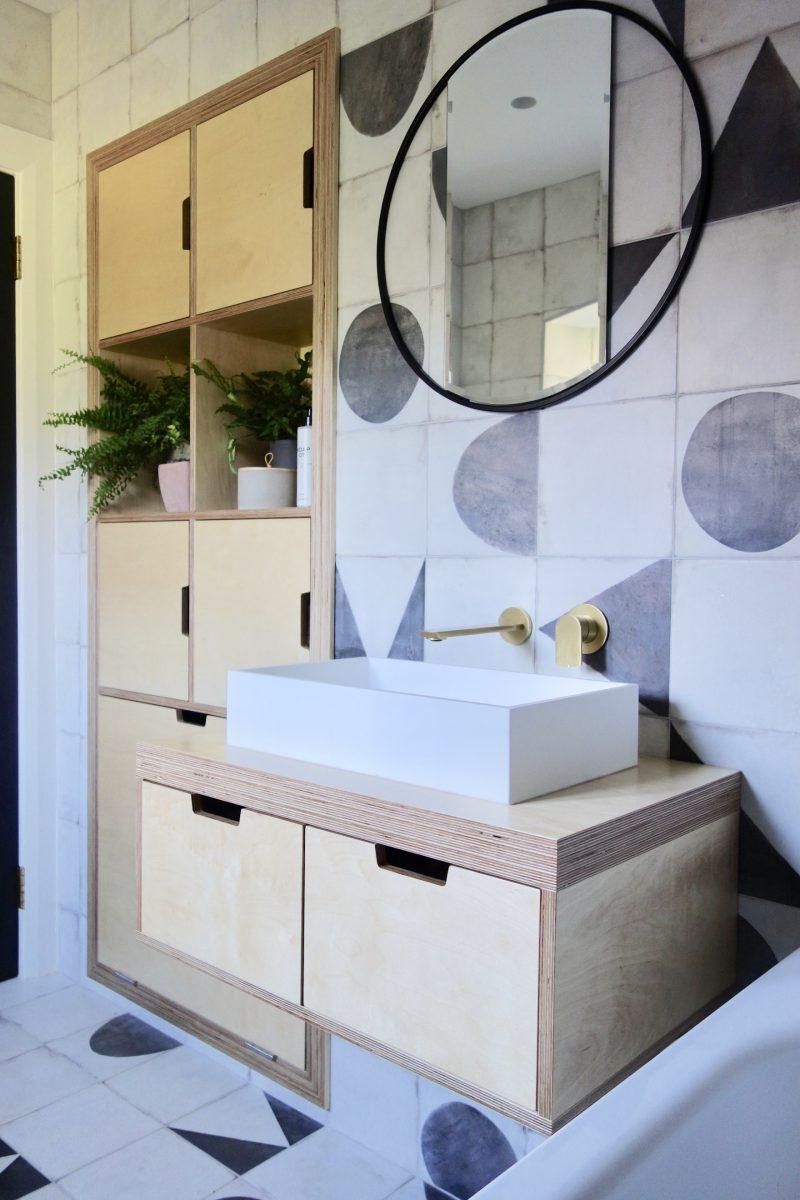 Birch plywood bathroom vanity and storage cupboard
