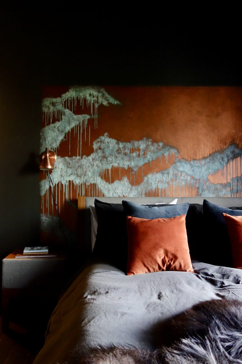 Copper Patina Headboard Wall