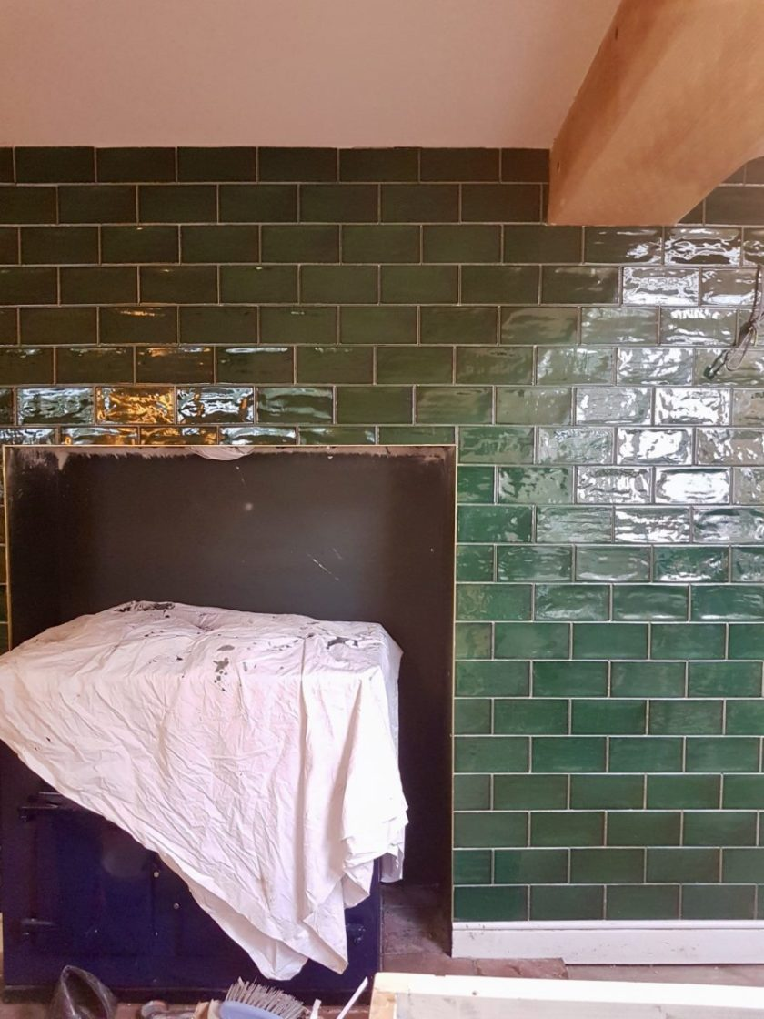 Paintbox Avocado Tiles with Brass Trim