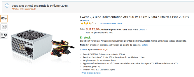 Alimentation ewent ATX 500W commandée sur Amazon