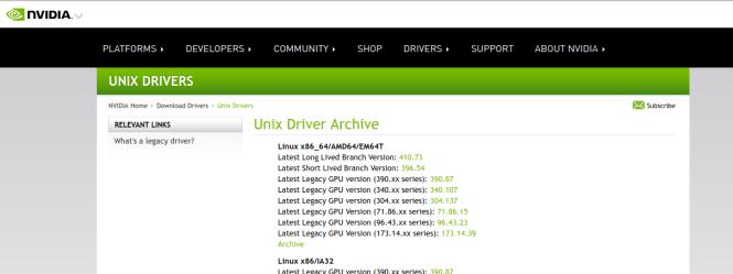 Les dernières drivers sur le site de NVIDIA