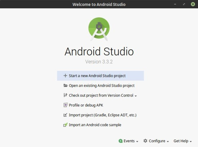 Android Studio - Welcome Screen