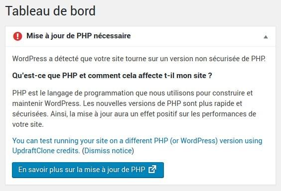 Tableau de bord - Avertissement pour migration vers PHP7