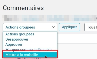 WP commentaires - actions groupées