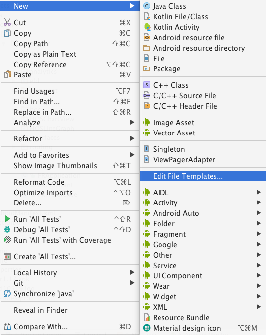 How to create a template in android studio blog right click on the source code folder and select new then select edit file templates maxwellsz
