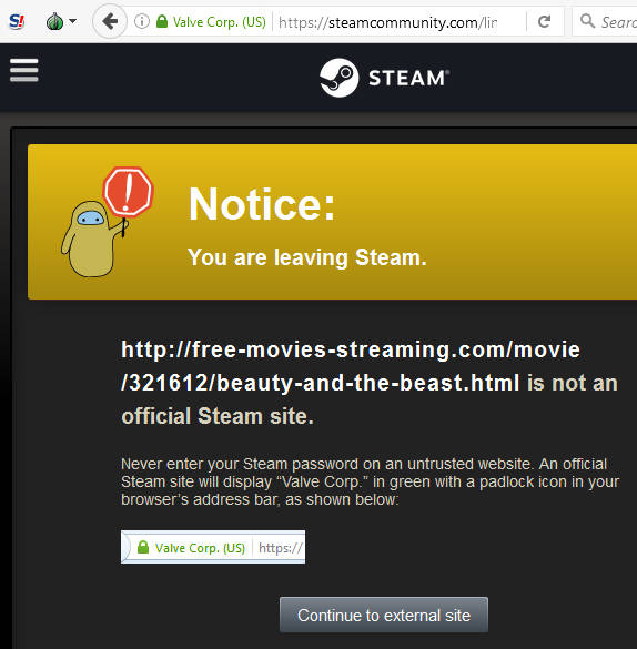 movie spam steam warning
