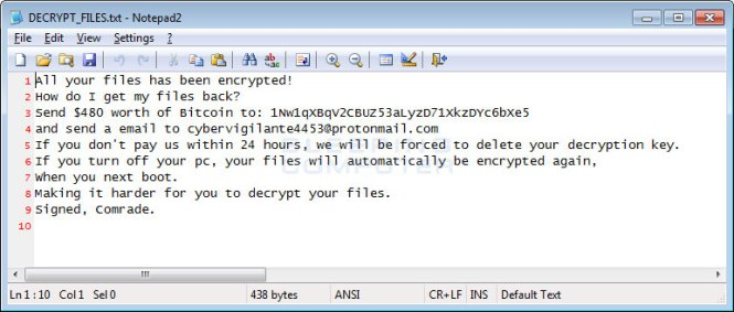 ransom note asking for bitcoin